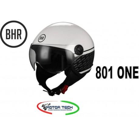 NEW CASCO DEMI JET BHR 801 ONE COOL DRIVE BIANCO VISIERA ELICOTTERISTA