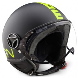 CASCO MOMO DESIGN FGTR FIGHTER FLUO NERO FROST DECAL GIALLO FLUO