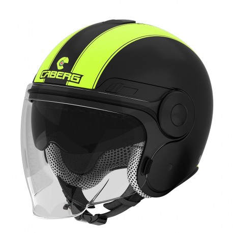 CASCO JET CABERG UPTWON LEGEND NERO OPACO GIALLO FLUO MOTO SCOOTER NEW 2016