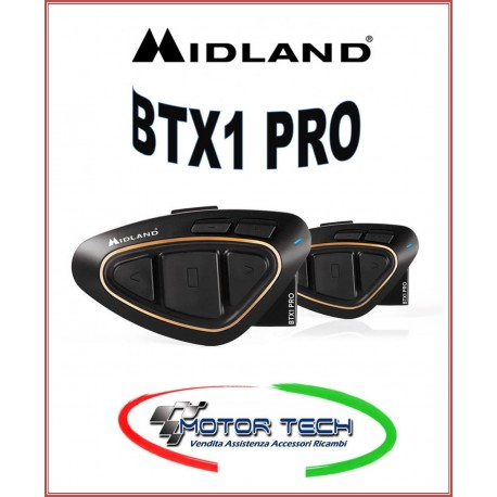 INTERFONO BLUETOOTH 4.2 MIDLAND NUOVO NEW BTX1 PRO TWIN COPPIA